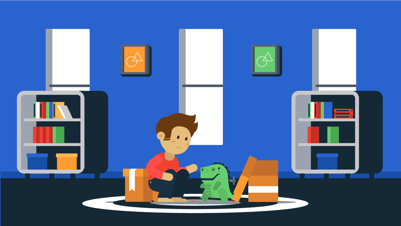 Kid playing in room vector