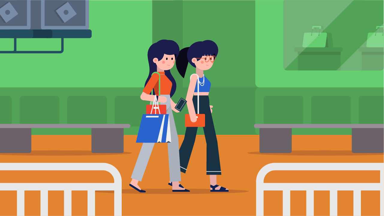 Shopping ladies vector